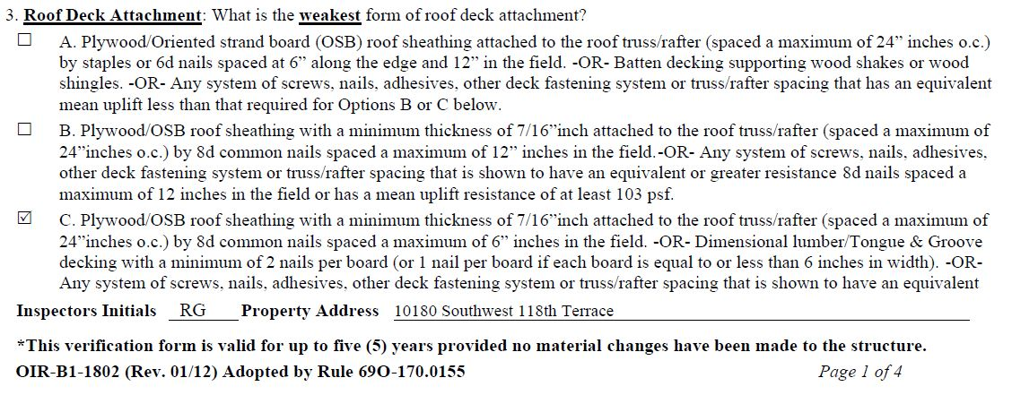 Explaining the Wind Mitigation Form 4