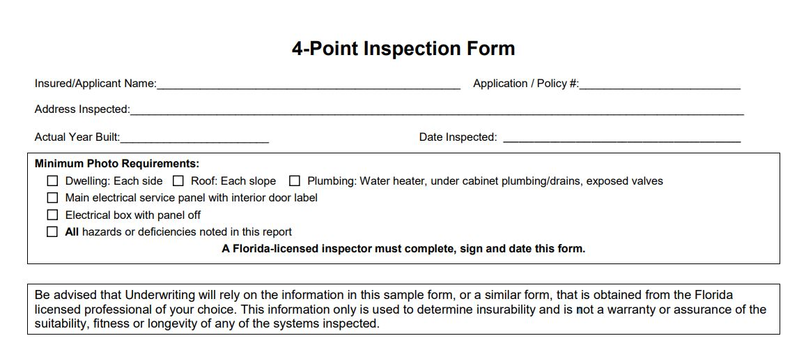 Read more about the article 4 Point Inspection Form